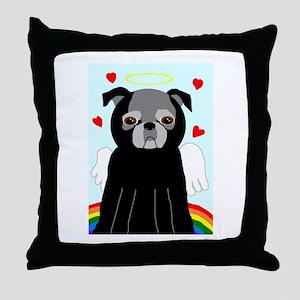 Black AngelPug Throw Pillow