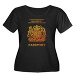 PASSPORT(UK) Women's Plus Size Scoop Neck Dark T-S