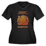 PASSPORT(UK) Women's Plus Size V-Neck Dark T-Shirt