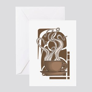 Coffee Nouveau Greeting Card