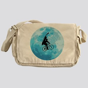 Cycling In Moonlight Messenger Bag