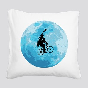 Cycling In Moonlight Square Canvas Pillow
