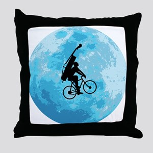 Cycling In Moonlight Throw Pillow