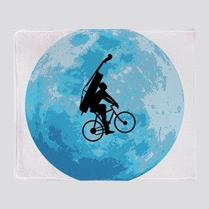 Cycling In Moonlight Throw Blanket