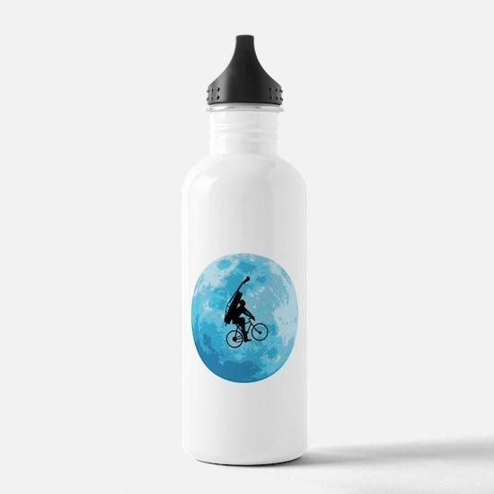 Cycling In Moonlight Water Bottle