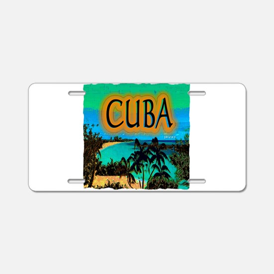 cuba beach art illustration Aluminum License Plate