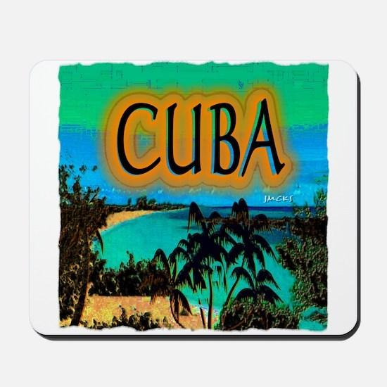 cuba beach art illustration Mousepad