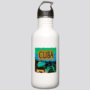 cuba beach art illustration Stainless Water Bottle
