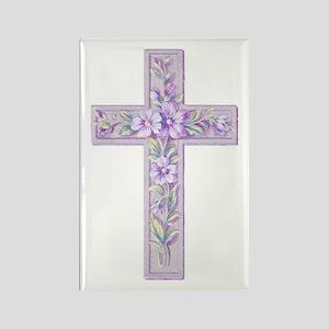 Purple Easter Cross Rectangle Magnet