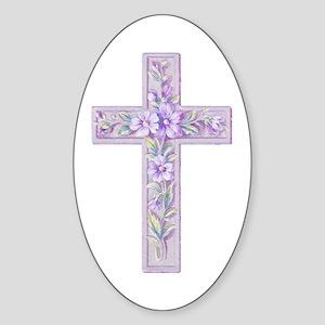 Purple Easter Cross Oval Sticker
