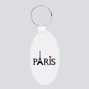Paris Aluminum Oval Keychain