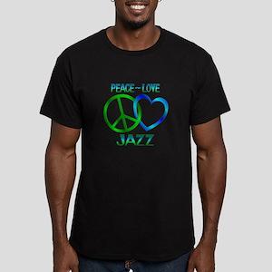 Peace Love Jazz Men's Fitted T-Shirt (dark)