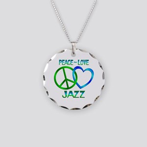 Peace Love Jazz Necklace Circle Charm