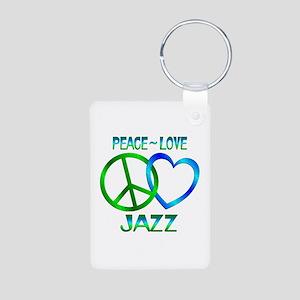 Peace Love Jazz Aluminum Photo Keychain
