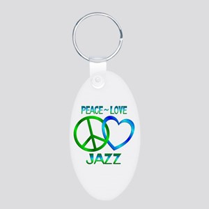 Peace Love Jazz Aluminum Oval Keychain