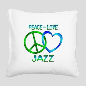 Peace Love Jazz Square Canvas Pillow