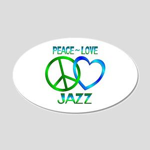 Peace Love Jazz 20x12 Oval Wall Decal