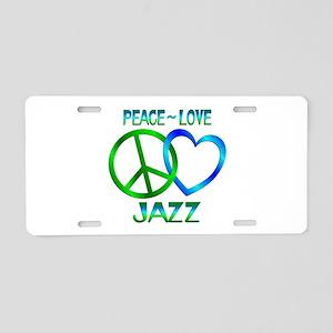 Peace Love Jazz Aluminum License Plate