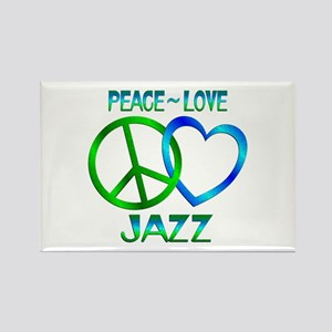 Peace Love Jazz Rectangle Magnet