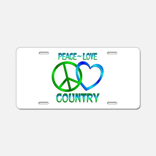 Peace Love Country Aluminum License Plate