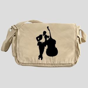 Man With Double Bass Messenger Bag