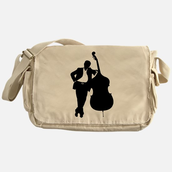 Man With Double Bass Messenger Bag
