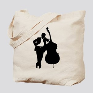 Man With Double Bass Tote Bag