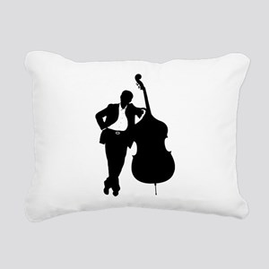 Man With Double Bass Rectangular Canvas Pillow