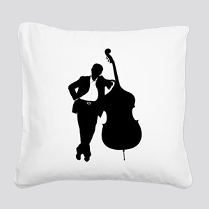Man With Double Bass Square Canvas Pillow