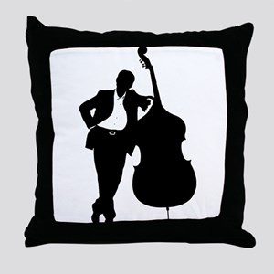 Man With Double Bass Throw Pillow