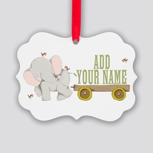 PERSONALIZED Cute Elephant Cart Ornament
