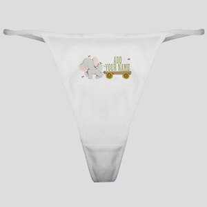 PERSONALIZED Cute Elephant Cart Classic Thong