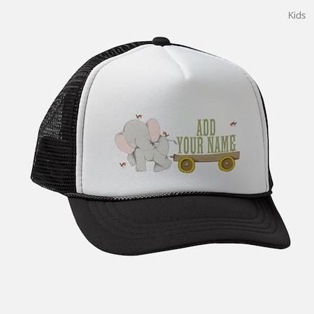 PERSONALIZED Cute Elephant Cart Kids Trucker Hat
