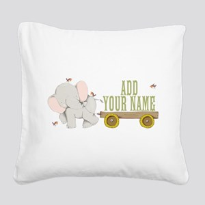 PERSONALIZED Cute Elephant Cart Square Canvas Pill