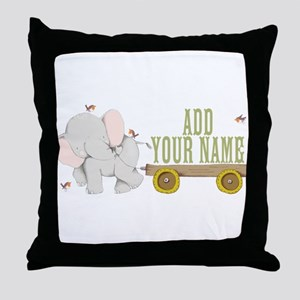 PERSONALIZED Cute Elephant Cart Throw Pillow