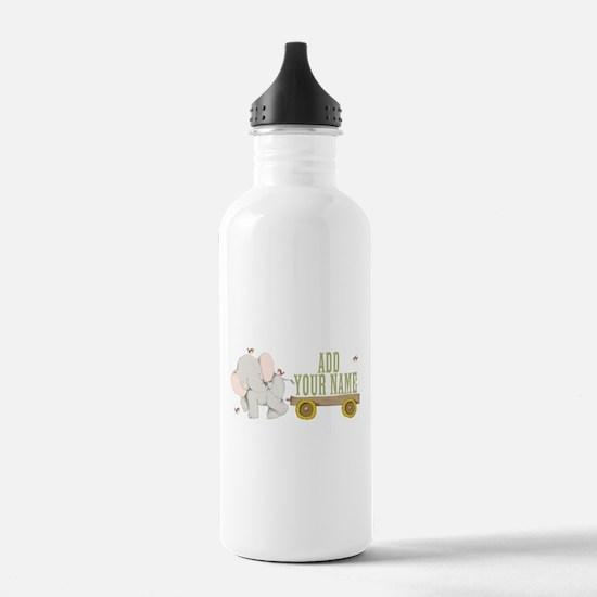 PERSONALIZED Cute Elephant Cart Water Bottle