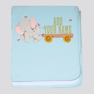 PERSONALIZED Cute Elephant Cart baby blanket