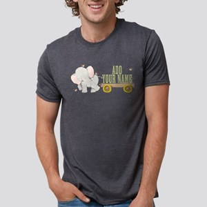 PERSONALIZED Cute Elephant Cart Mens Tri-blend T-S