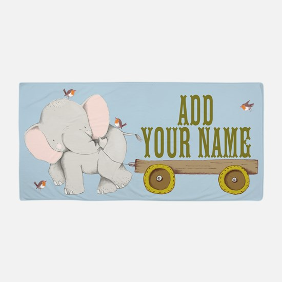 PERSONALIZED Cute Elephant Cart Beach Towel