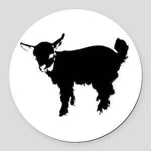 Black Baby Goat Round Car Magnet