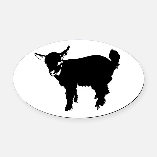 Black Baby Goat Oval Car Magnet