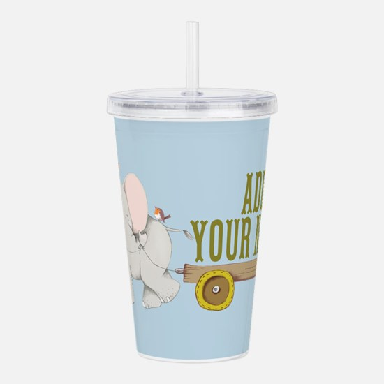 PERSONALIZED Cute Elephant Cart Acrylic Double-wal