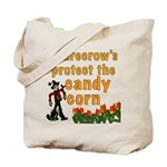 Scarecrows protect the candy corn bag