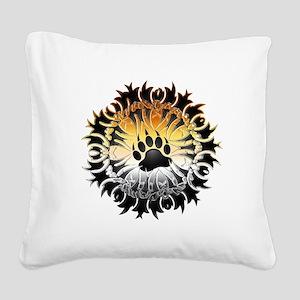 Tribal Bear Pride Paw Square Canvas Pillow