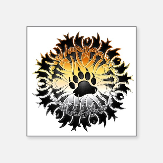"Tribal Bear Pride Paw Square Sticker 3"" x 3"""