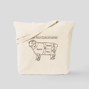 Dark Brown Print / Know Your Cuts of Lamb Tote Bag