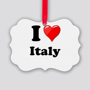 I Heart Love Italy Picture Ornament