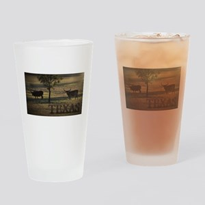 Texas Long Horn Drinking Glass