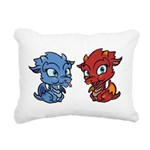 Blue and Red Dragons Rectangular Canvas Pillow