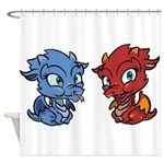 Blue and Red Dragons Shower Curtain
